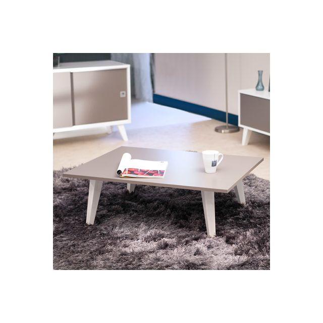 Table basse sur pieds inclinés plateau taupe