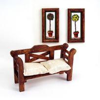 Artesania - Accessoires pour maison de poupées : Mobilier et accessoires : Banc et tableaux