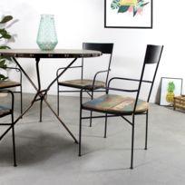 Made In Meubles - Chaise industrielle avec accoudoirs, métal et bois   Mk124-Bois colore