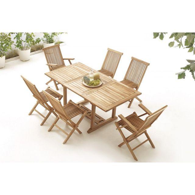 Bobochic Table rectangle 4 chaises + 2 fauteuils Teck Brut Massif