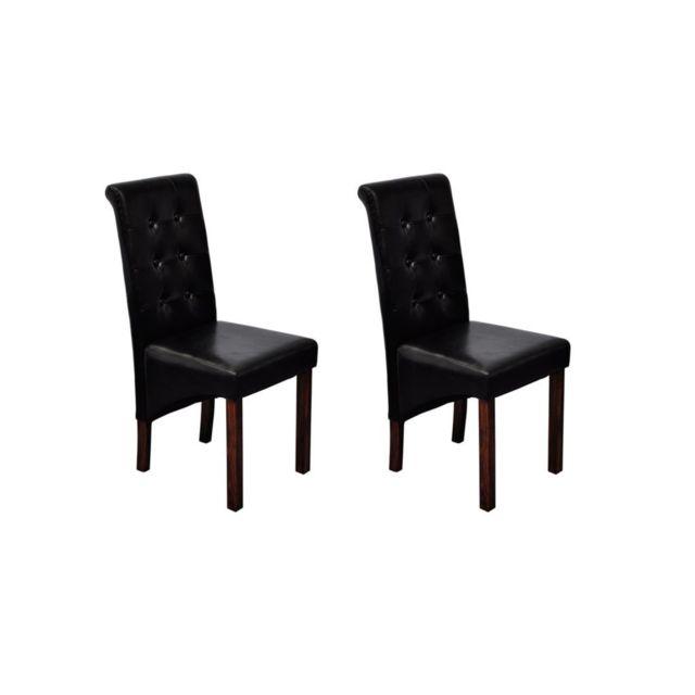 Sans Marque Chaise noire lot de 2, en simili cuir