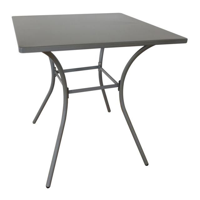 Alinéa - Garden Table de jardin noire en acier 2 places ...