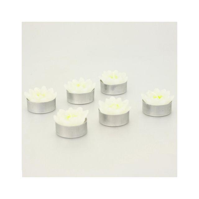 Comptoir Des Bougies Lot de 6 bougies Lotus - Blanc et vert