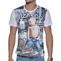 Celebrytees - Celebry Tees - T Shirt Manches Courtes - Homme - Bebe Tatoo - Blanc