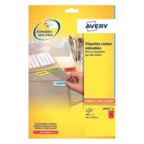 Avery - l6034-20 - etiquettes laser enlevables rouges 63.5x33.9mm - paquet de 480