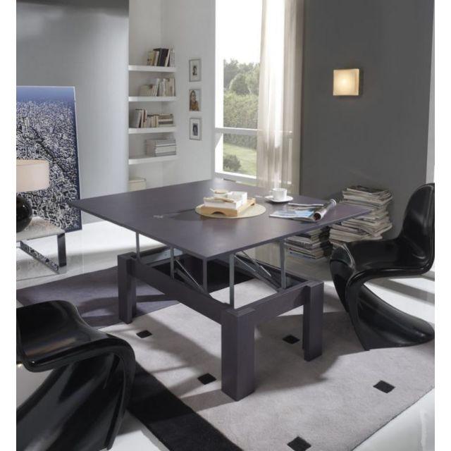 Sofamobili Table basse relevable gris cendré contemporaine Yara