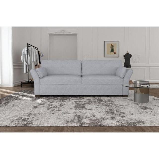 CANAPE - SOFA - DIVAN RODIER INTERIEURS Canapé droit fixe 3 places - Tissu gris - Classique - L 202 x P 97 cm