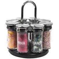 Promobo - Set Luxe Carrousel 8 Pots à Herbes et Epices en Verre avec Stickers