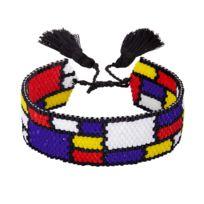 Indian Summer - Bracelet Tissu Perles en verre du Japon