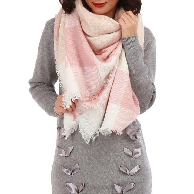Lamodeuse - Écharpe oversize bicolore rose et blanc - pas cher Achat ... 386607630dde