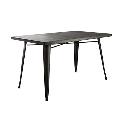 Table à manger 140x80cm en acier anthracite