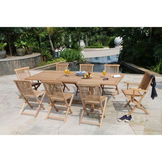 Salon De Jardin - Ensemble Table Chaise Fauteuil De Jardin Artigues  Ensemble repas de jardin en bois teck massif 6 places - Table extensible -  Marron