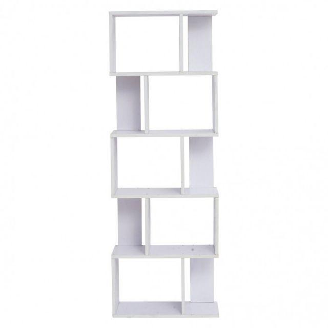 Mobili Rebecca Bibliotheque Etageres Bois Blanc Design Moderne Sejour Bureau Chambre