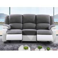 Canapé 3 Places Relax En Microfibre Et Simili Bilston Ii Gris Et Blanc