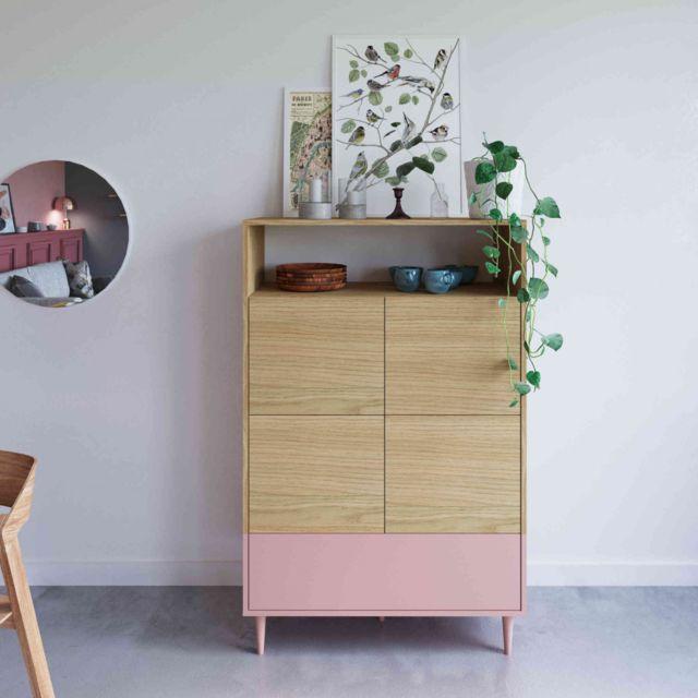 TERRE DE NUIT Commode en bois rose avec placard et niche de rangement - CO6001