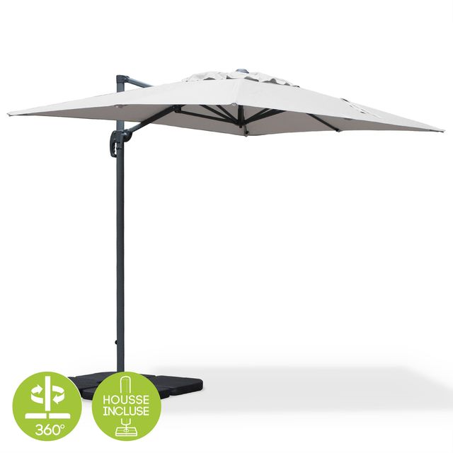 ALICE'S GARDEN Parasol déporté rectangulaire Biscarosse 2x3m Gris clair excentré inclinable rotatif à 360