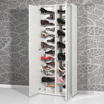 Marque Generique - Meuble à chaussures 28paires avec miroirs L80xP34xH197cm Espace - Blanc