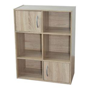 Marque Generique - Etagère cube en bois H80cm L61.5cm avec portes et ...