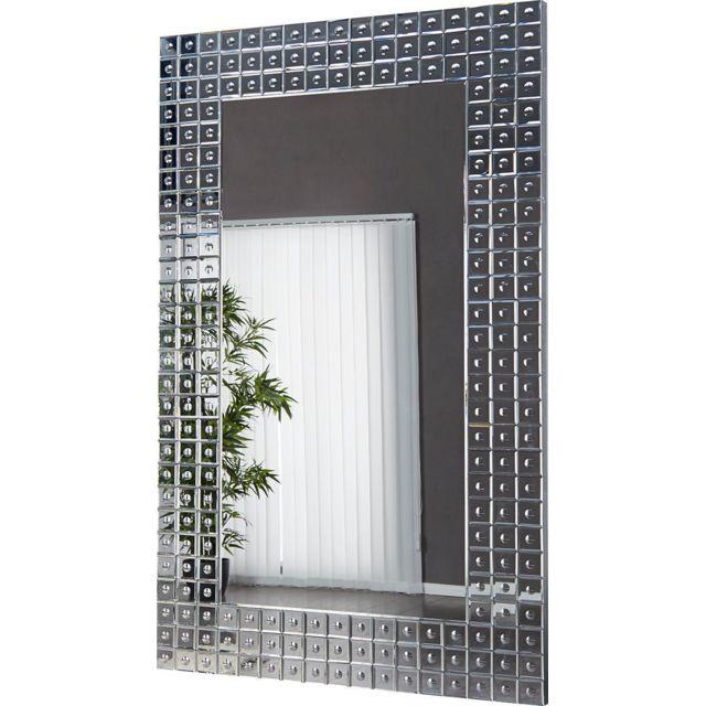 Comforium Miroir mural 140 cm design verre transparent