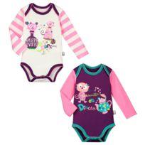 cc02c9372ae0 Petit Beguin - Lot de 2 bodies manches longues bébé fille Dinette - Taille  - 12