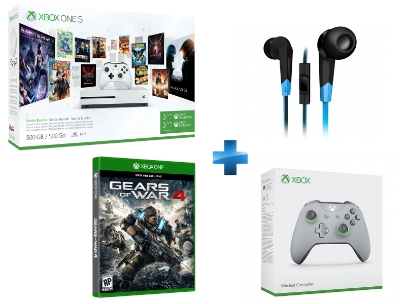 Pack Xbox One S 500Go 3M Game Pass + 3M LIVE + Syva + Manette Xbox sans fil grise / verte + Gears Of War 4 - Xbox One