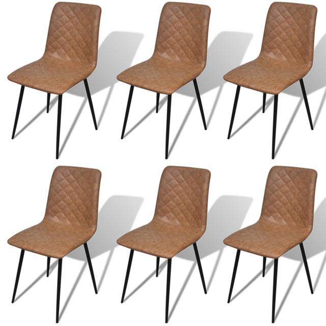 Vidaxl Chaises de salle à manger 6 pcs Marron en cuir artificiel
