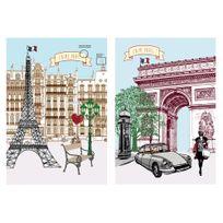 Coucke - Torchon coton j'aime Tour Eiffel Arc de Triomphe - lot de 2 assortis Paris