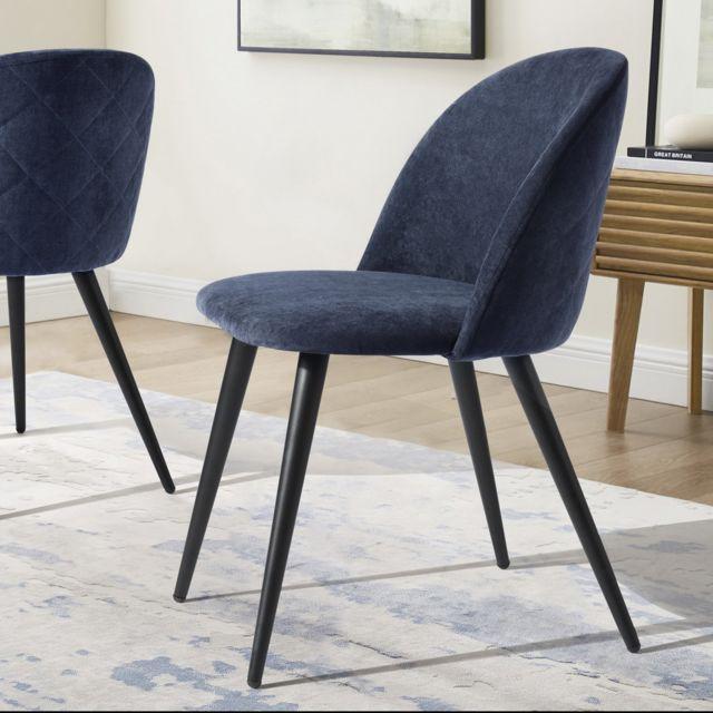 Urban Meuble Lot de 2 chaises scandinave bleu tissu métal