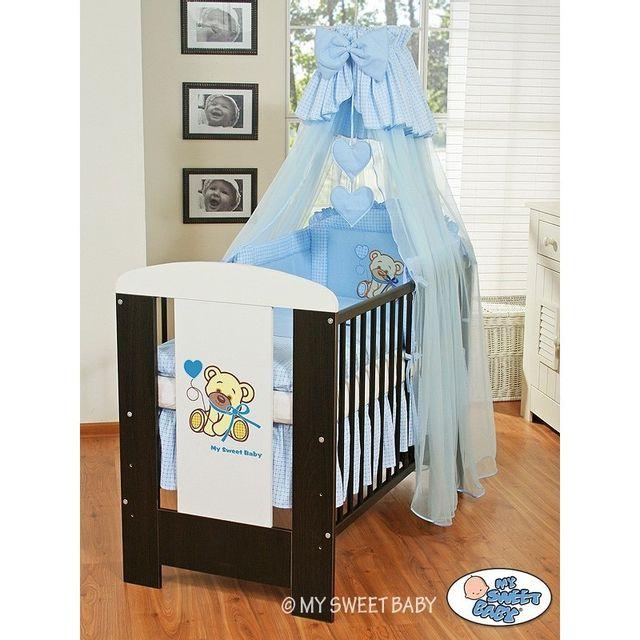 Lit et Parure de lit bébé teddy bear bleu ciel de lit coton 120 60