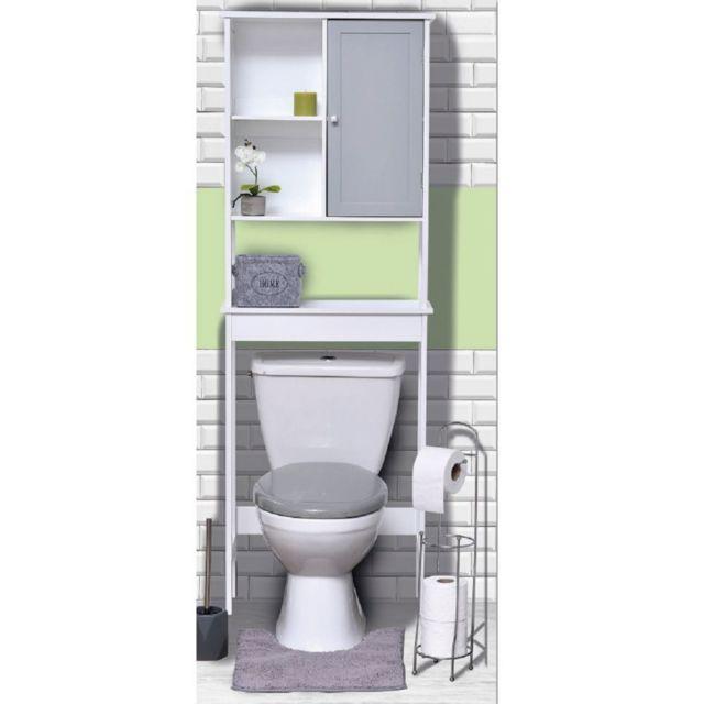 TENDANCE - Meuble WC 1 porte 2 niches Diamant gris - pas ...