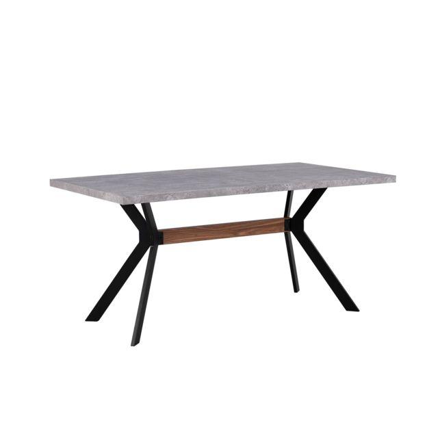 BELIANI Table de salle à manger effet béton 160 x 90 BENSON - marron clair