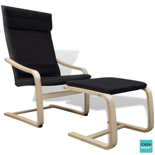 Casasmart Lika fauteuil en bois noir relaxant