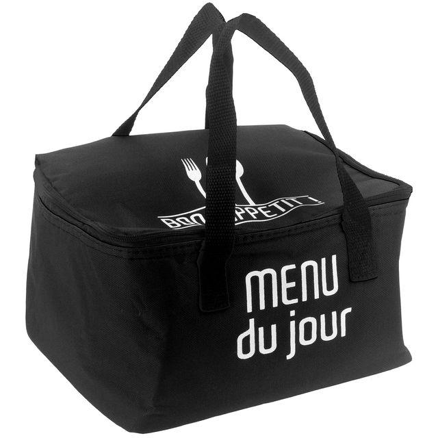 Promobo Lunch Bag Sac Panier Repas Fraicheur Isotherme Menu Du Jour Noir