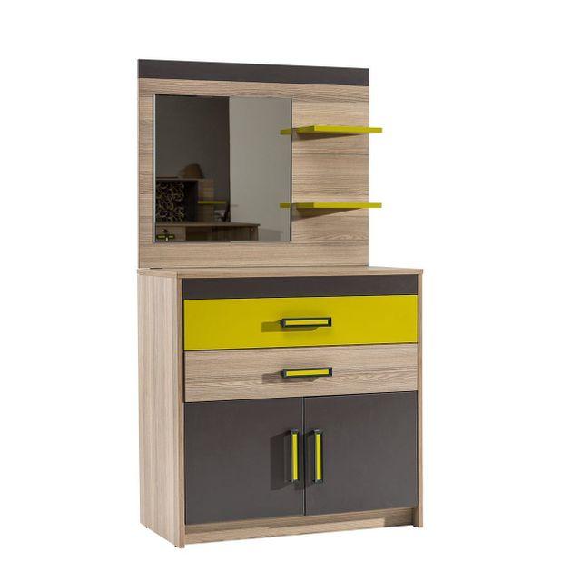 comforium commode ado coloris bois noyer et gris anthracite pas cher achat vente commode. Black Bedroom Furniture Sets. Home Design Ideas