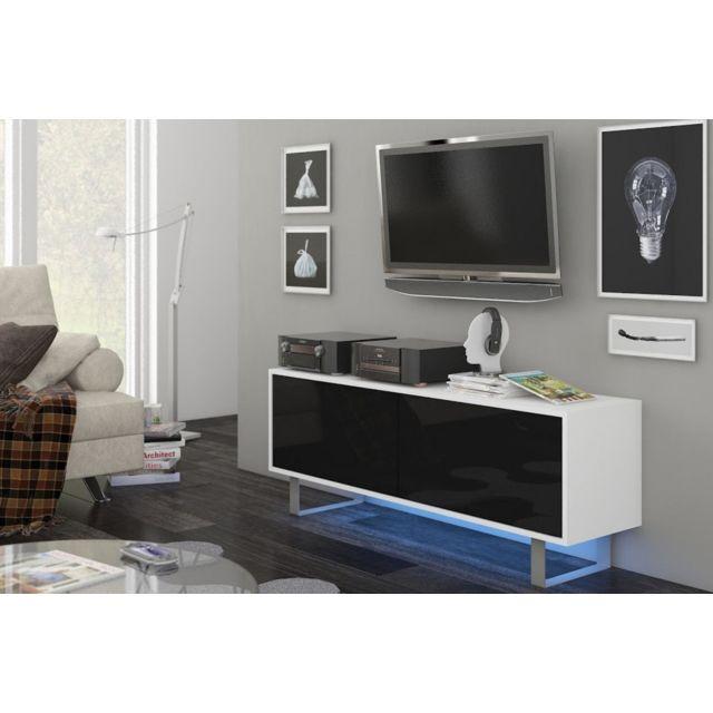 Vivaldi King 1 Meuble Tv Design blanc mat avec noir brillant. Eclairage à la Led bleue