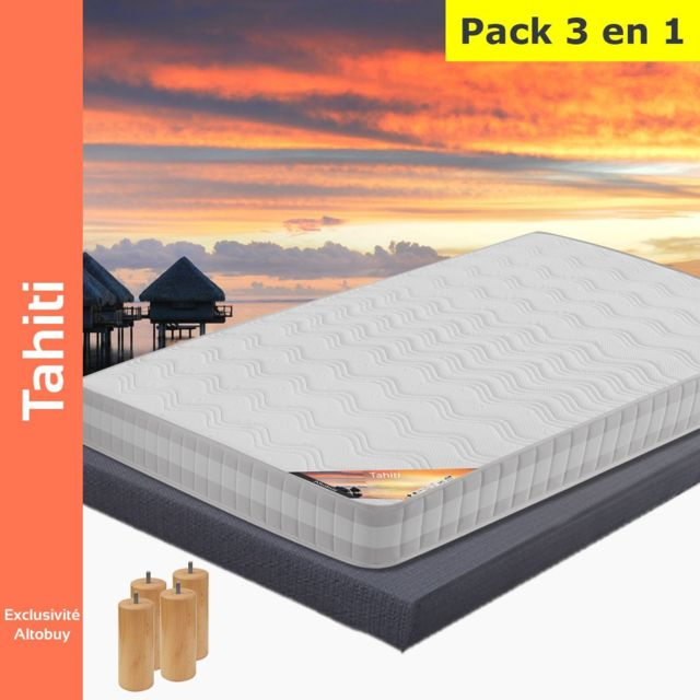 altobuy tahiti pack matelas altodeco 140x190 pieds blanc 140cm x 190cm pas cher. Black Bedroom Furniture Sets. Home Design Ideas