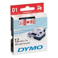 Dymo - Ruban étiqueteuse fond blanc écriture rouge 12 mm x 7 m