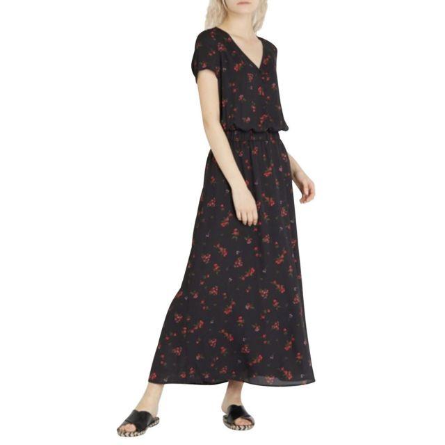 Robe longue col V fleuris Racquel Bloom Noir