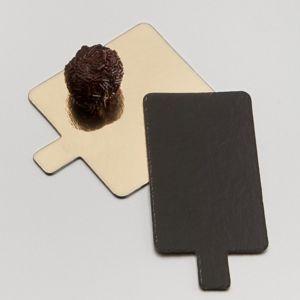 az boutique languette carr e or et noire en carton pour p tisserie 8 x 8cm lot de 250. Black Bedroom Furniture Sets. Home Design Ideas