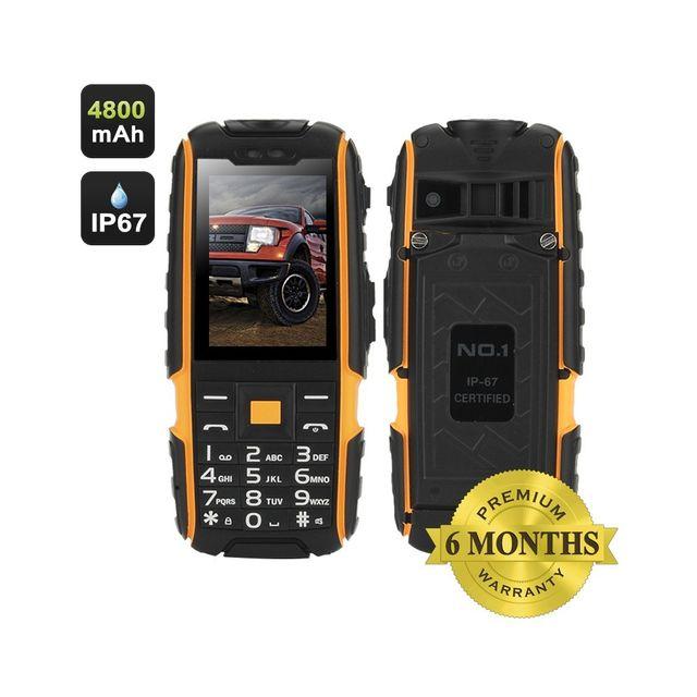 Auto-hightech Téléphone 2,4 pouces 240x320 écran, Double Sim, Ip67 étanche, Radio Fm, lampe de poche jaune