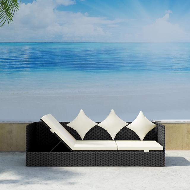 Rocambolesk Superbe Bain de soleil en polyrotin noir avec coussins d'assise et coussins Neuf
