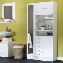 Marque Generique - Armoire avec miroir 4 portes/5 tiroirs/3 niches L90xP29.6xH181.6cm Banio - Blanc