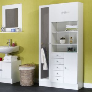 marque generique armoire avec miroir 4 portes 5 tiroirs 3 niches banio. Black Bedroom Furniture Sets. Home Design Ideas