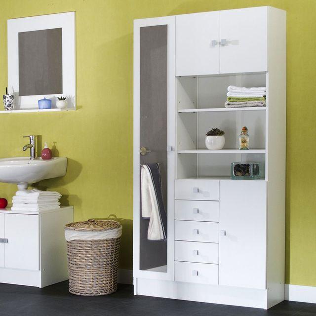 Marque generique armoire avec miroir 4 portes 5 tiroirs - Armoire de salle de bain pas cher ...