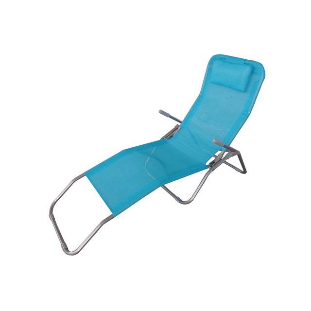 Kb8 chaise longue turquoise avec appuie tête bleu