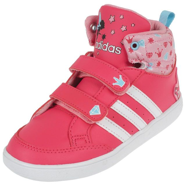 Baskets fille hoops Mid Adidas avec fermeture scratch
