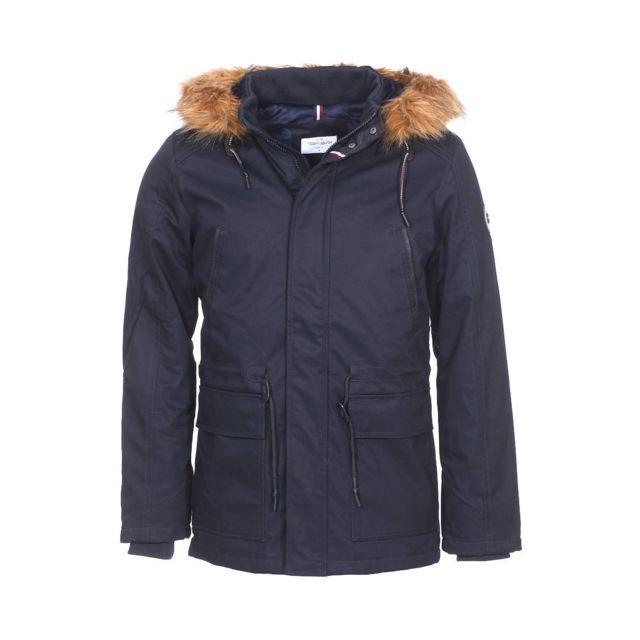 421a07b44b2ae Teddy Smith - Parka Pozier en coton bleu marine à capuche et ...