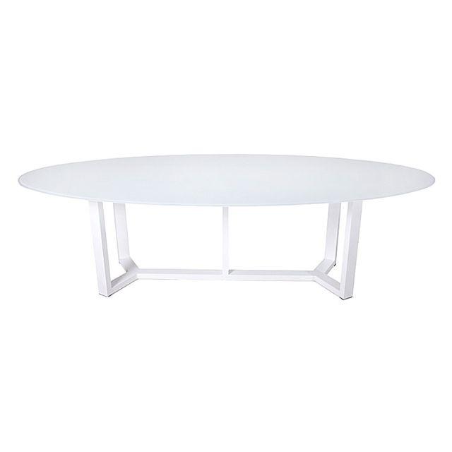 Gecko Jardin - Table alu blanc et verre blanc 260 x 130 cm Catanzaro ...