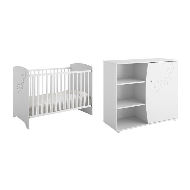 Galipette Lit bébé 60x120 et Commode à langer Adèle - Blanc