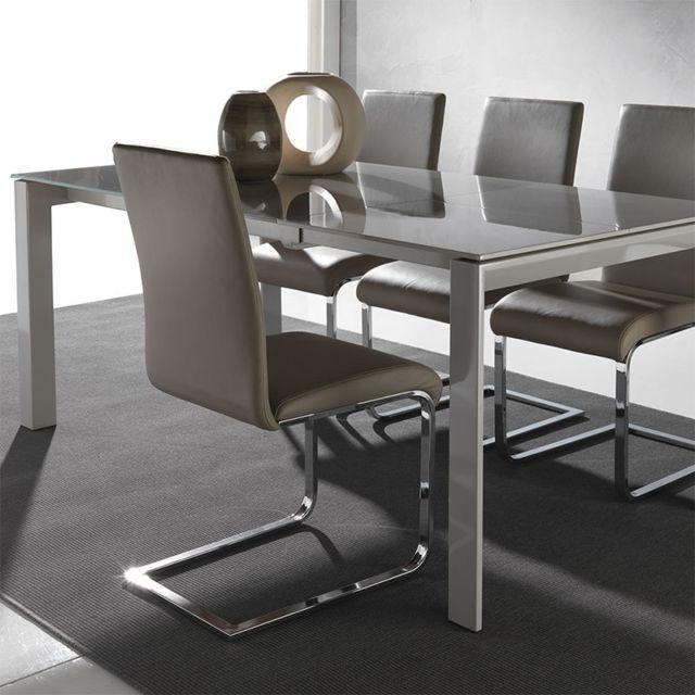 Nouvomeuble Table design en verre taupe extensible Belino Option 1